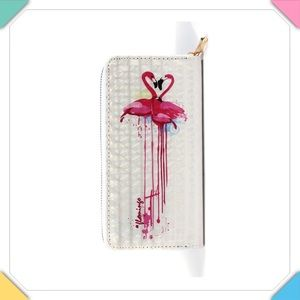 Flamingo Print Zip Around Wallet